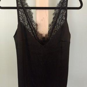 H&M black silk and eyelash lace camisole